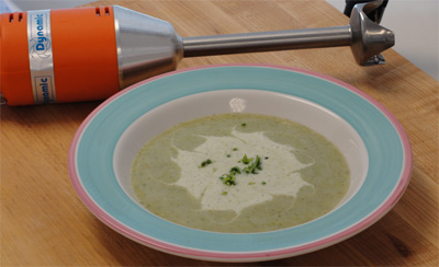 Chef prepares Cream of Broccoli Soup with favorite Hand Blender