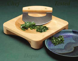 Mezzaluna Knife with Maple Bowl