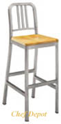 Siren Brushed Aluminum Bar Stool