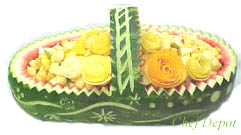 Watermelon Basket with flowers