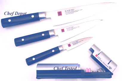 Kasumi Chef Knife 8 in. blade, double bevel and 3 in. Paring Knife, Utility Knife 5.5 in. blade Set
